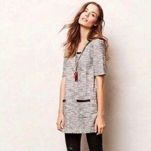 Anthro Postmark Gray Tweed Tunic Shift Dress Work